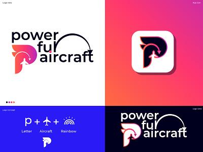 Powerefull Aircraft Logo simple logo flat modern logo designer business logo tech p logo p letter app icon logotype vector tecnology logo mark business branding identity branding symbol abstract modern gradient logo
