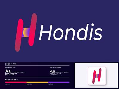 Hondis Logo Design- H Logo mark 3d tecnology business logo logo river logo home logo web dribble letter mark h logo gradient branding identity symbol abstract modern graphic design logo branding