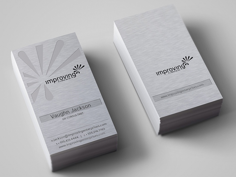 Improving Metal Business Card business card branding design