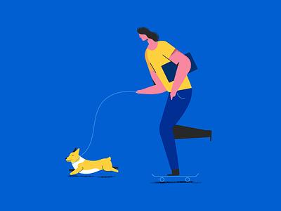 Freelance riga latvia flat skate dog illustration corgi