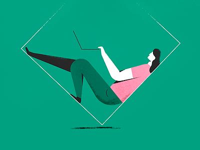 Into the Box latvia riga illustration flat grain green social pink box people man