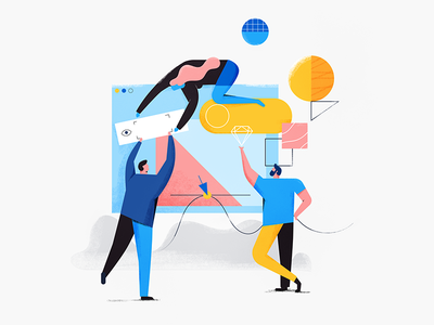 Less messy designs poses lines textures shapes report design people layers avocode