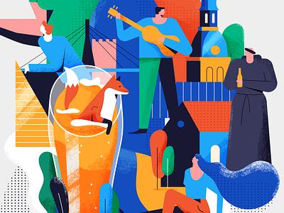 Riga Pours branding craft grain texture drink monk fox latvia riga fest beer