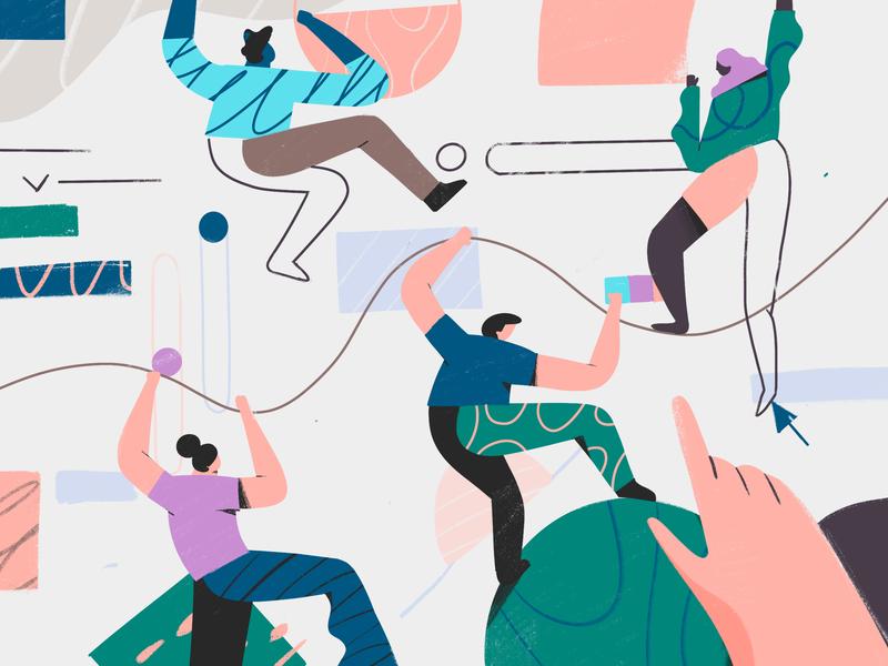 Avocode Design Report 2018 team working together people textures patterns report design avocode