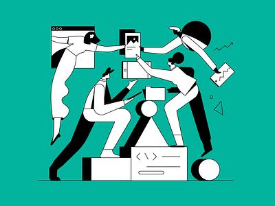 Working together digital team together working design people illustration