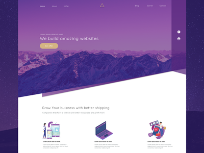 Agency Website agency header design header purple website design webdesign website web ui design app