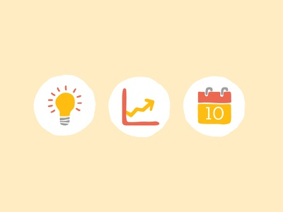 Kid's Initiative Icons icons lightbulb graph calendar playful hand drawn first dribble kids