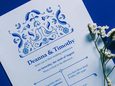 Scandinavian Wedding Invite folk celebration married floral invite blue flowers bird wedding invitation