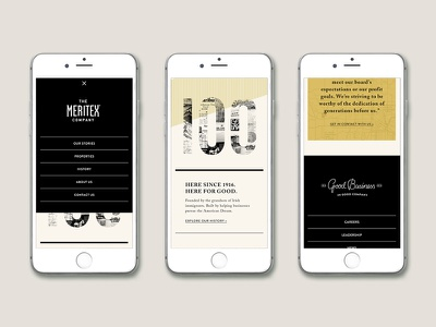 Meritex Website mobilenav mobile mockup iphone design black yellow website webdesign