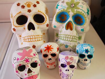 Painted Day of the Dead Skulls skull day of the dead skulls halloween dia de los muertos sugar skull