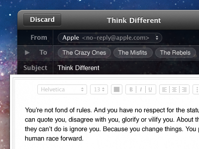 Think Different email os x ui