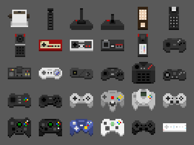 An Abridged History of Game Controllers game icon pixel