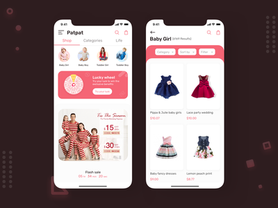 Ecommerce iOS and Andriod App apparel design uxdesign mobileappdesign mobileappdevelopment android app ecommerce baby clothes ecommerce app ios app ecommerce design appdevelopment