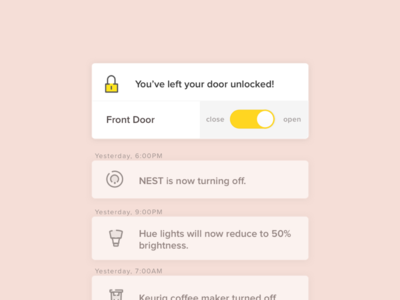 In-app notifications for smart home remote app  toggle icons notifications