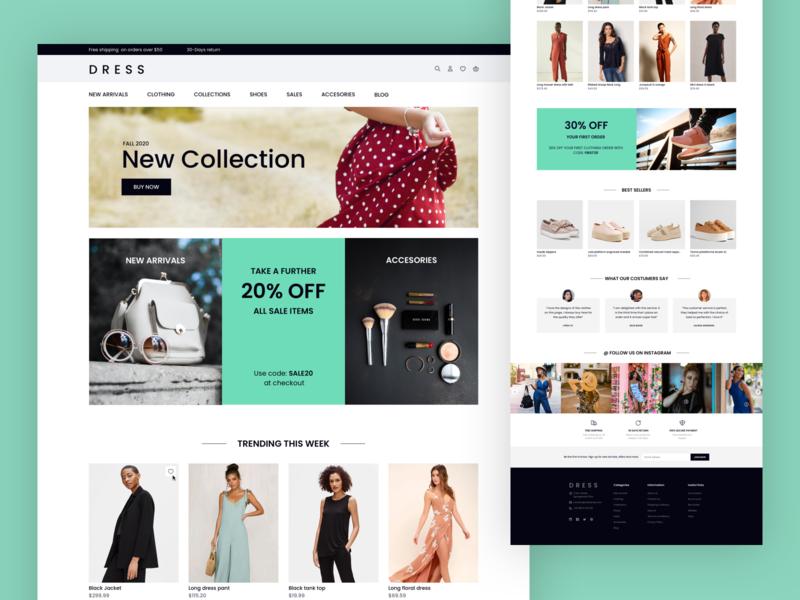 Dress landing page II shopify ecommerce sketch branding web design website interface design ui