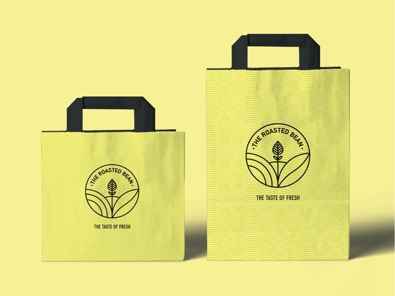 The Roasted Bean Bags challenge icon package packaging logos simple modern design identity brand branding abstract mark type logo product minimalistic vibrant