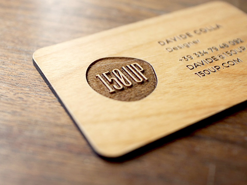 150UP Business Card branding business card logo 150up letterpress stationary wood