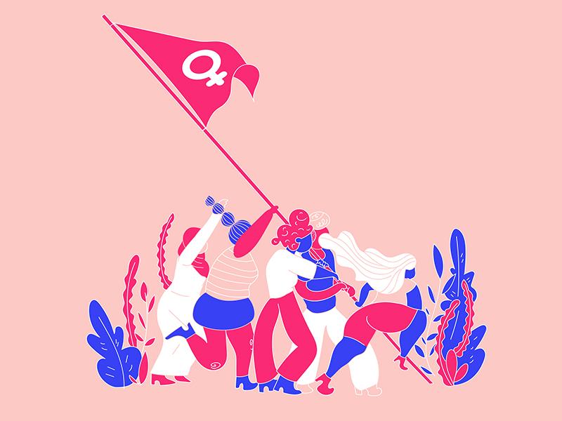 Dribbble Women blue pink flag woman women vector animation design digital illustration