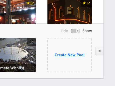 Create New Pool tom app design function toggle