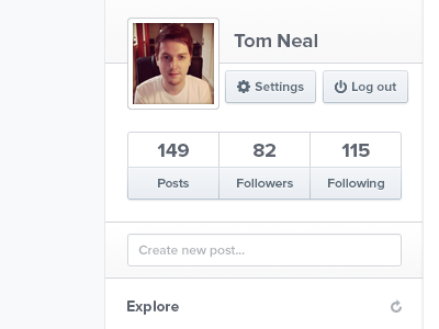 (Not Another) Social Profile clean tom design social profile stats buttons