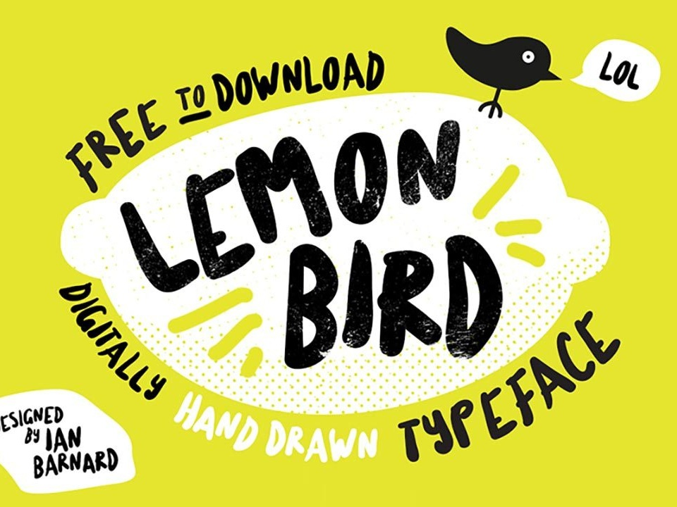 Lemon Bird Font font freebies