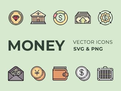 Free Money Vector Icons Set