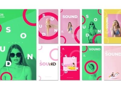Instagram stories for sound festival Free Psd
