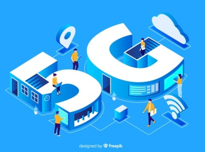 Isometric 5g concept background Free Vector