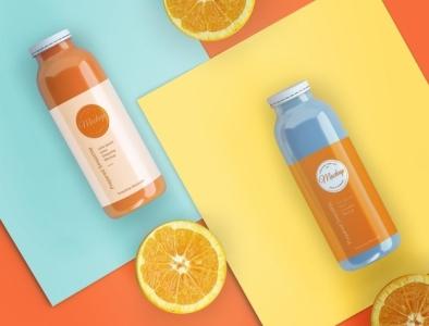 Flat lay orange smoothies mock-up Free Psd