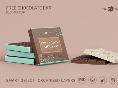Square Chocolate Bar Snack & Box Packaging Mockup Free PSD