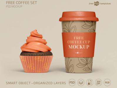 Coffee Set Mockup Template Free PSD
