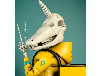 Glovo - Unicorn of death marvelous designer zbrush photoshop illustration character cinema4d