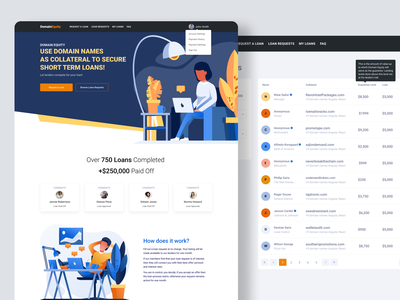 Domain Equity site redesign domains ui landing page clean homepage