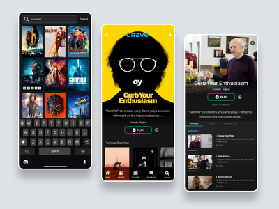 Crave Mobile App Redesign Experiment homescreen android ios app tv movies design ui clean mobile