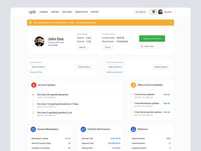 Domain Management Dashboard domains dashboard ui design landing page layout
