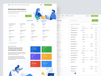 Domain Marketplace illustration white clean branding ui landing homepage layout