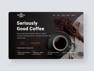 Serious Coffee Redesign layout clean branding design coffe dark ui homepage