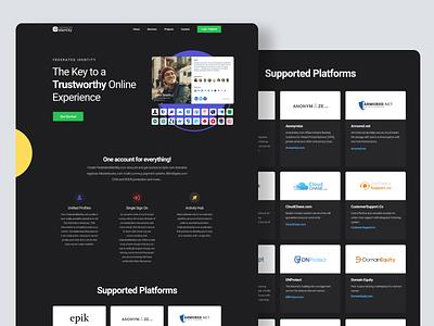 Federated Identity homepage concept landing layout ui dark web homepage