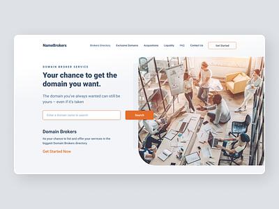 Hero Design branding simple domains landing homepage clean layout
