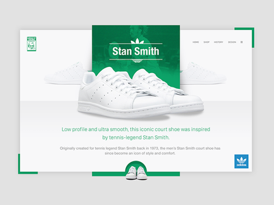 Stan Smith - Adidas green stan smith clean layout shopping shoes landing home homepage adidas