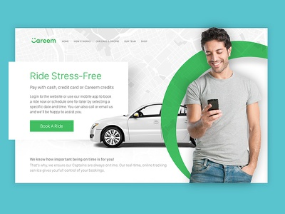 Book a ride clean simple call2action cars maps ux ui landing home