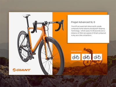 Product View simple clean popup orange giant bikes design product view