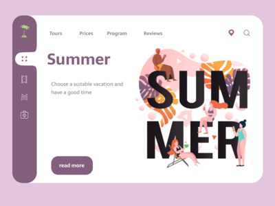 The concept of the object design web site for vacation web website branding vector art illustration flat animation ux minimal