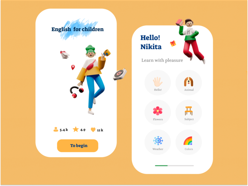 App for kids to learn English flat ux animation icon typography website illustration branding vector minimal