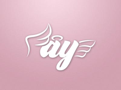 Angel wing letter font logo
