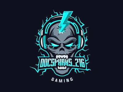 Electric Skull Mascot eSports Custom Logo Design