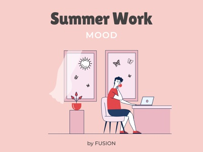 Summer work mood mobile app flat vector illustration web design web ui ux design minimal