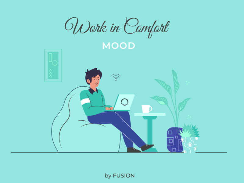 Work in Comfort Mood web design ux ui vector app design illustration design minimal