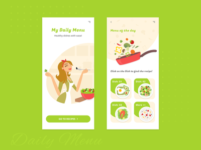 My Daily Menu food app food web mobile app vector illustration web design ux ui design