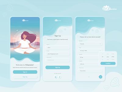 YOmentor mobile yoga design app design mobile app web design illustration ux ui